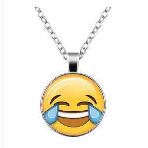 Jewelry - Laughing 😂Emoji Glass & Silver Necklace